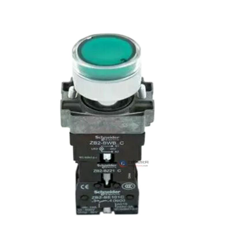 施耐德带灯按钮开关XB2BW33B1C LED灯绿色